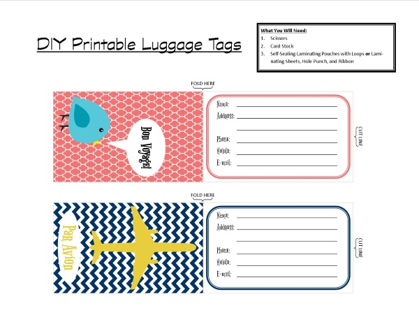 Diy Printable Luggage Tags  Brass And Whatnots