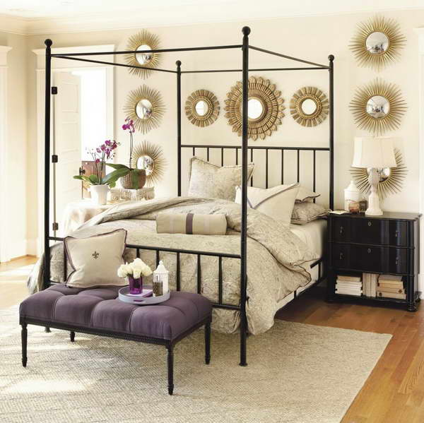 Iron-Canopy-Bed-Frame-With-Purple-Chair