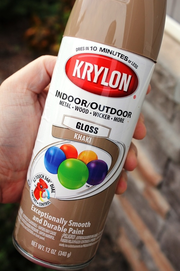 to paint those letters i used this krylon spray paint in gloss khaki. Black Bedroom Furniture Sets. Home Design Ideas