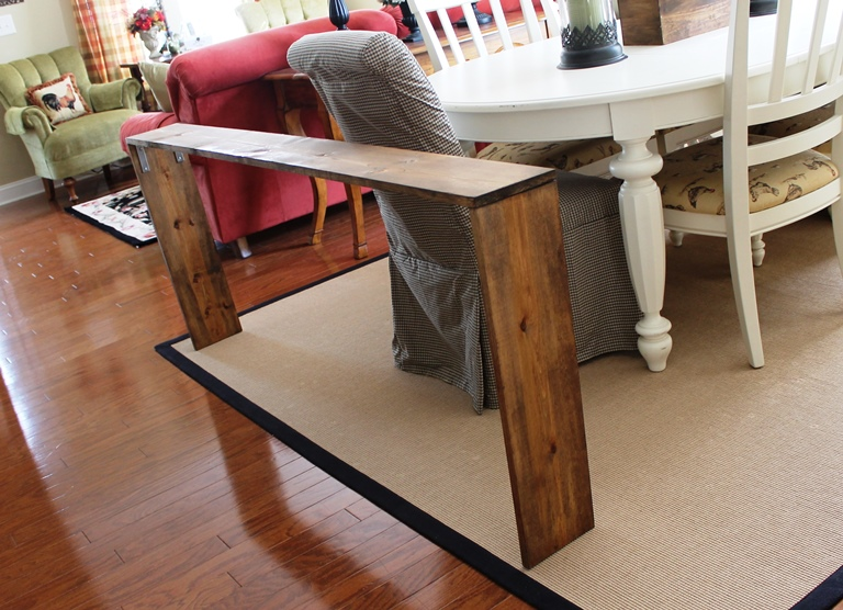 Easy diy sofa table brass and whatnots for Couch table ideas