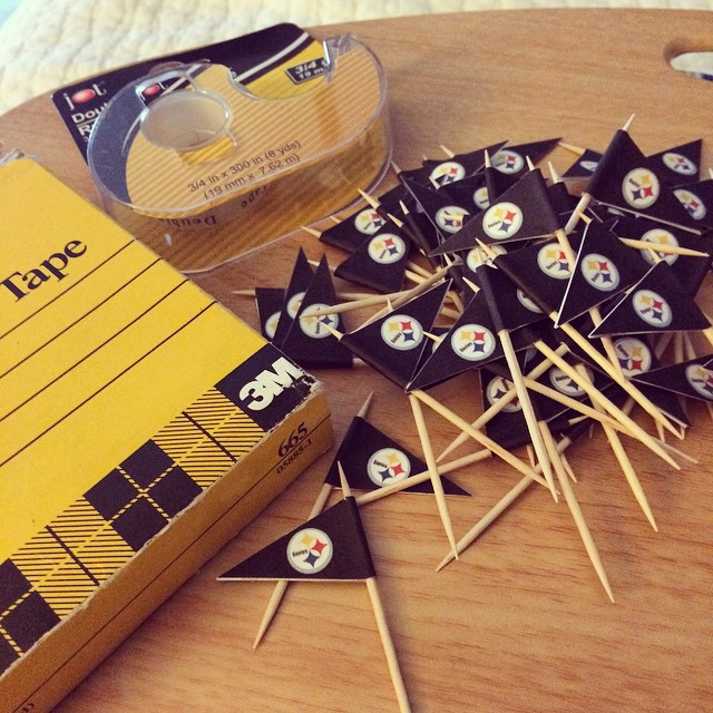 Workin on cupcake flags for hubby's 40th birthday party in December. It's early but I want to be able to focus on Christmas soon!! #steelers