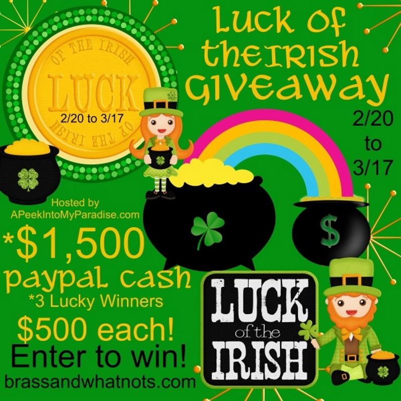 Luck of the Irish PayPal Cash Giveaway 2/20 – 3/17