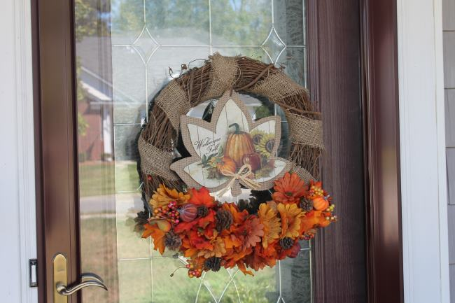 dollar tree fall wreath door